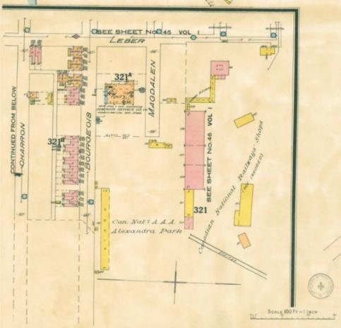 Plan montrant l'Alexandra Park au bout de la rue Sainte-Madeleine (Magdalen) en 1926. Insurance plan of city of Montreal, Quebec, Canada, volume IV, Underwriters' Survey Bureau