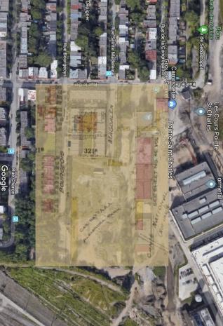 Superposition du plan de 1926 avec l'image aérienne du lieu aujourd'hui. (Google Maps)